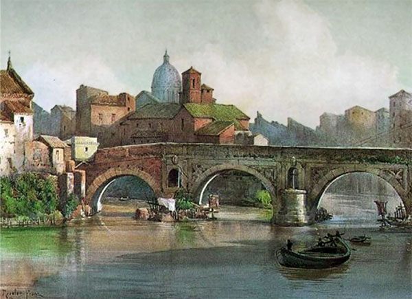 Ettore Roesler Franz,Ponte rotto (environ 1896)