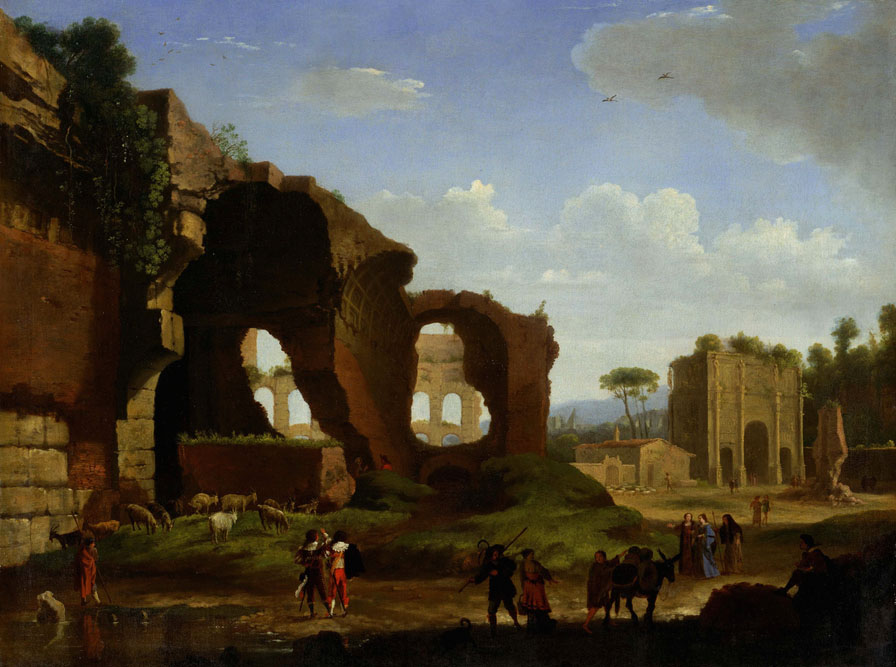 Herman van Swanevelt, Ruins of the temple of Venus, Colosseum, Arch of Constantine