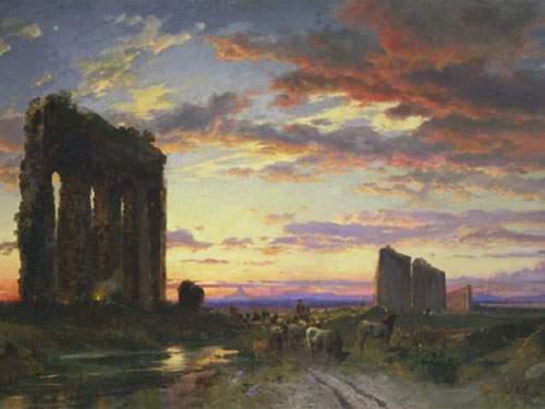 Hermann David Salomon Corrodi, Ruines romaines sur l'Appia antica au coucher du soleil
