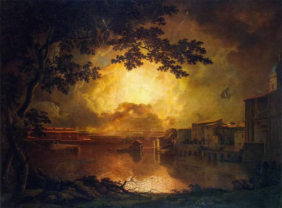 Joseph Wright of Derby, Girandola (Feux d'artifices) au château Saint-Ange