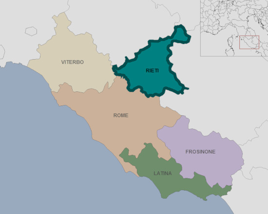 Mappa del Lazio, province