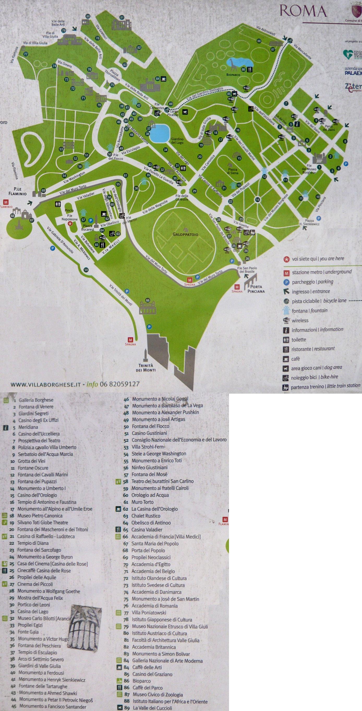 plan du parc de la villa borghese