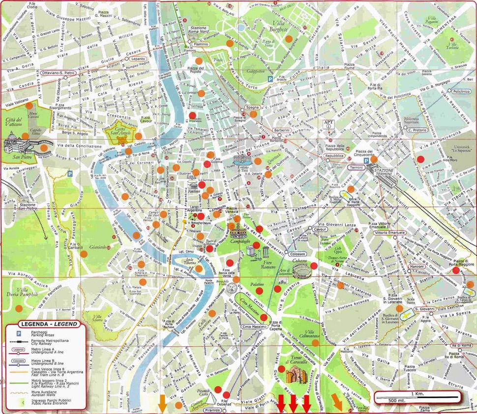 Cartina Centro Roma.Pianta Dei Luoghi Turistichi Di Roma