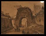 Ippolito Caffi, arco di druso e porta San Sebastiano, circa 1837