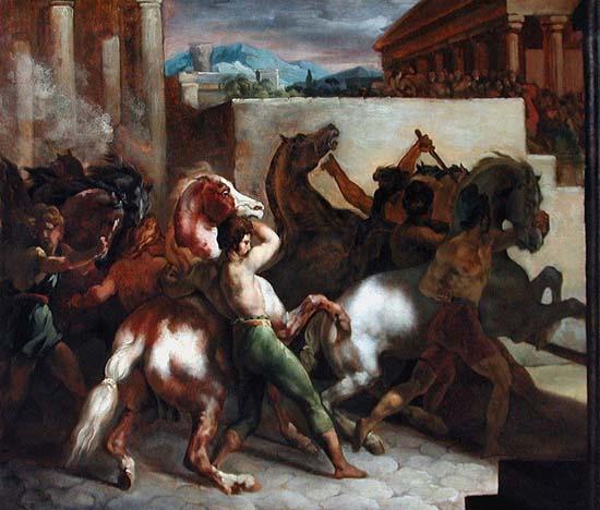 Gericault - course de chevaux libres a rome