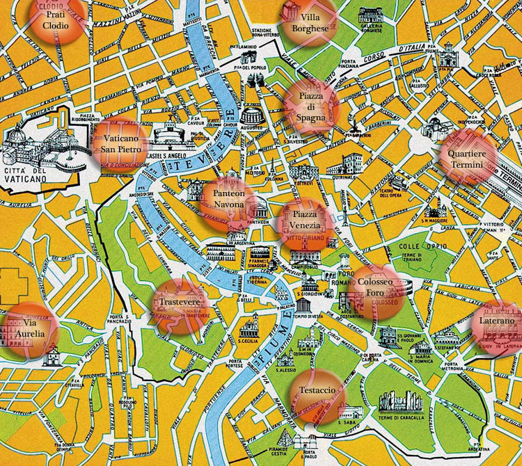 mappa alberghi in roma