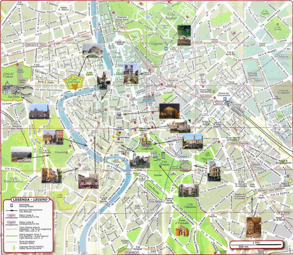 Carte de Rome : Plan touristique Monuments de Rome