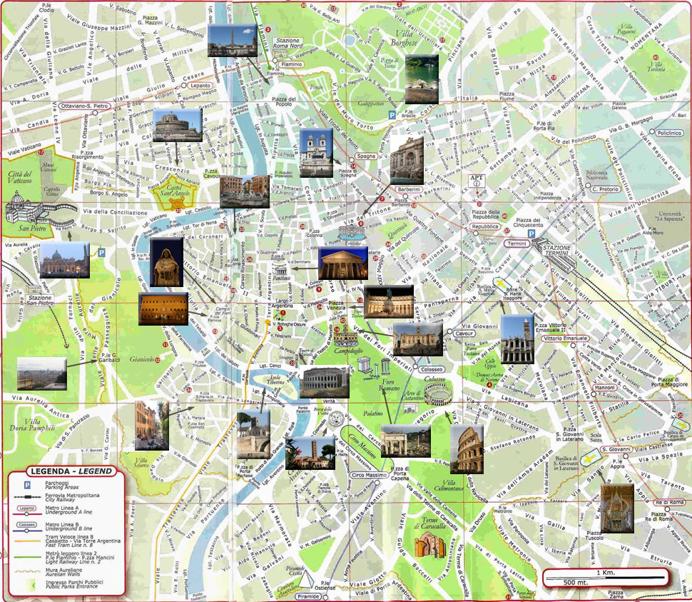Cartina Di Roma Centro Con Monumenti.Cartina Di Roma Rome Roma