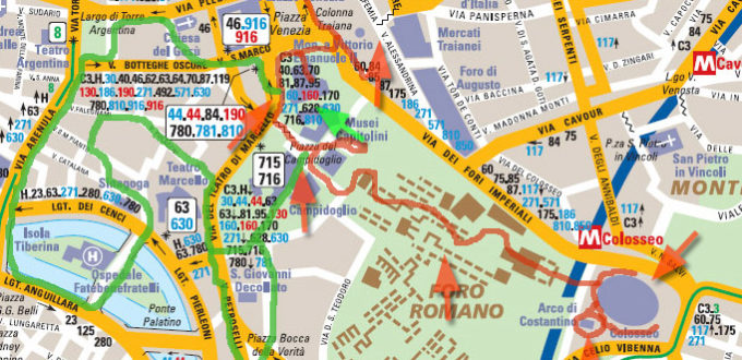 carte itinéraire à Rome